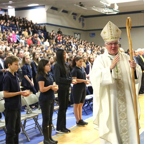 Close to 2,000 students and staff from across the system gathered at Cathedral High School on May 7 for an opening mass celebrated by His Excellency Bishop Douglas Crosby to kick off Catholic Education Week, May 7-11. Photo by Jenna Madalena.